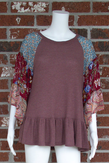 Berry Waffle Knit Top
