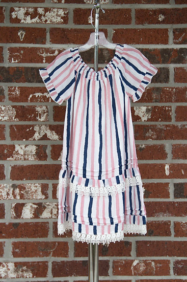Pink & Navy Stripe Dress