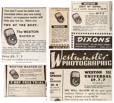 British Advertising, Weston Master III, Model S141.3, Retailer Advertisements