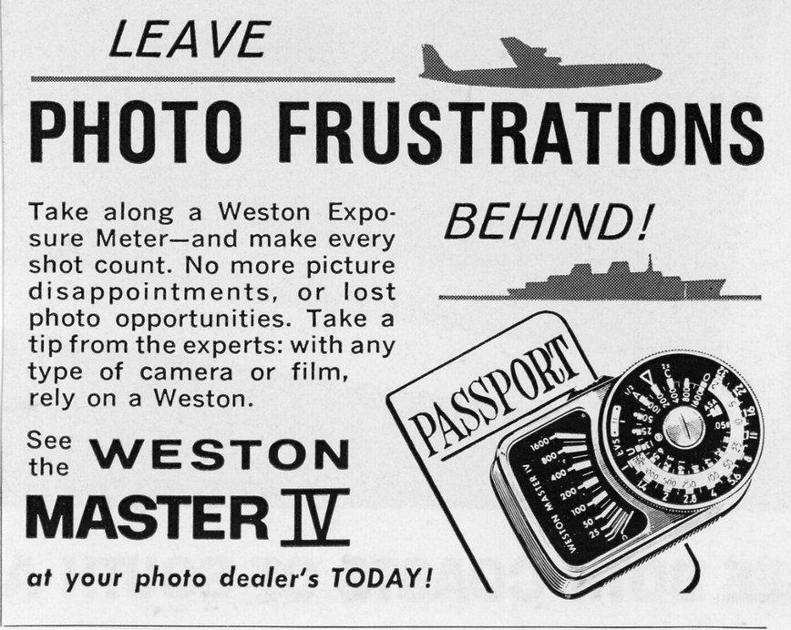 Weston Master IV, Advertisement, International, Travel, Photo Frustrations