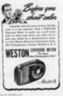 Advertisement, American magazine, Weston Master II, Color Film
