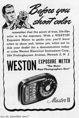 Advertisements, Weston Master II, Exposure Meters, Magazines, Color
