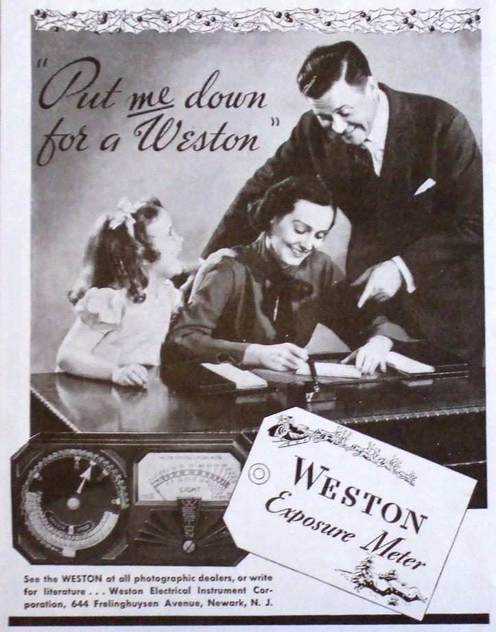 Weston Photronic, Model 650, Exposure Meter, Advertising, 1938 Depression