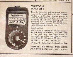 Weston Master 1, Advertising, UK, Sangamo. 1948