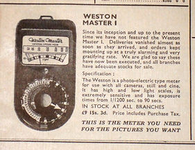 Weston Master 1, Advertising, UK, Sangamo. 1948