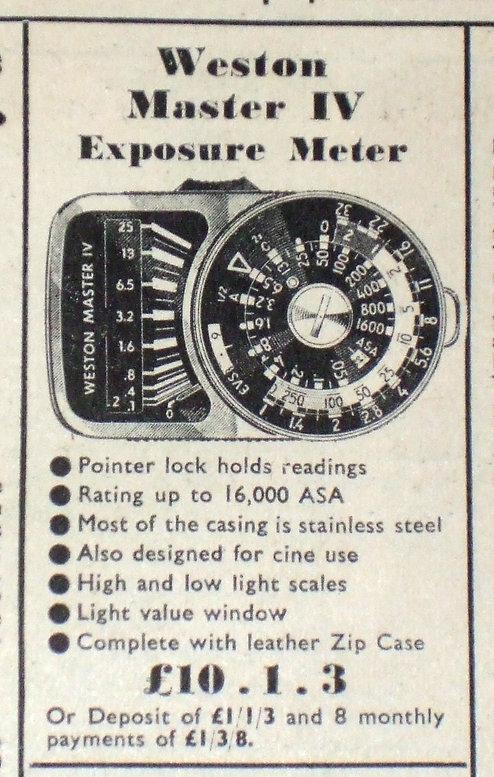 Weston Master IV, Universal Exposure Meter, Amateur Photographer, Dollonds, Dixons