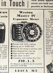 Weston Master IV, Exposure Meter, British Advertising, Amateur Photograher 1962