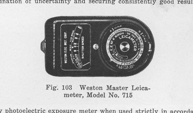 Weston Master Leicameter, Model 715, Leica manual, Morgan & Lester