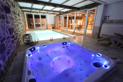 espace welness avec piscine, jacuzzi, sauna
