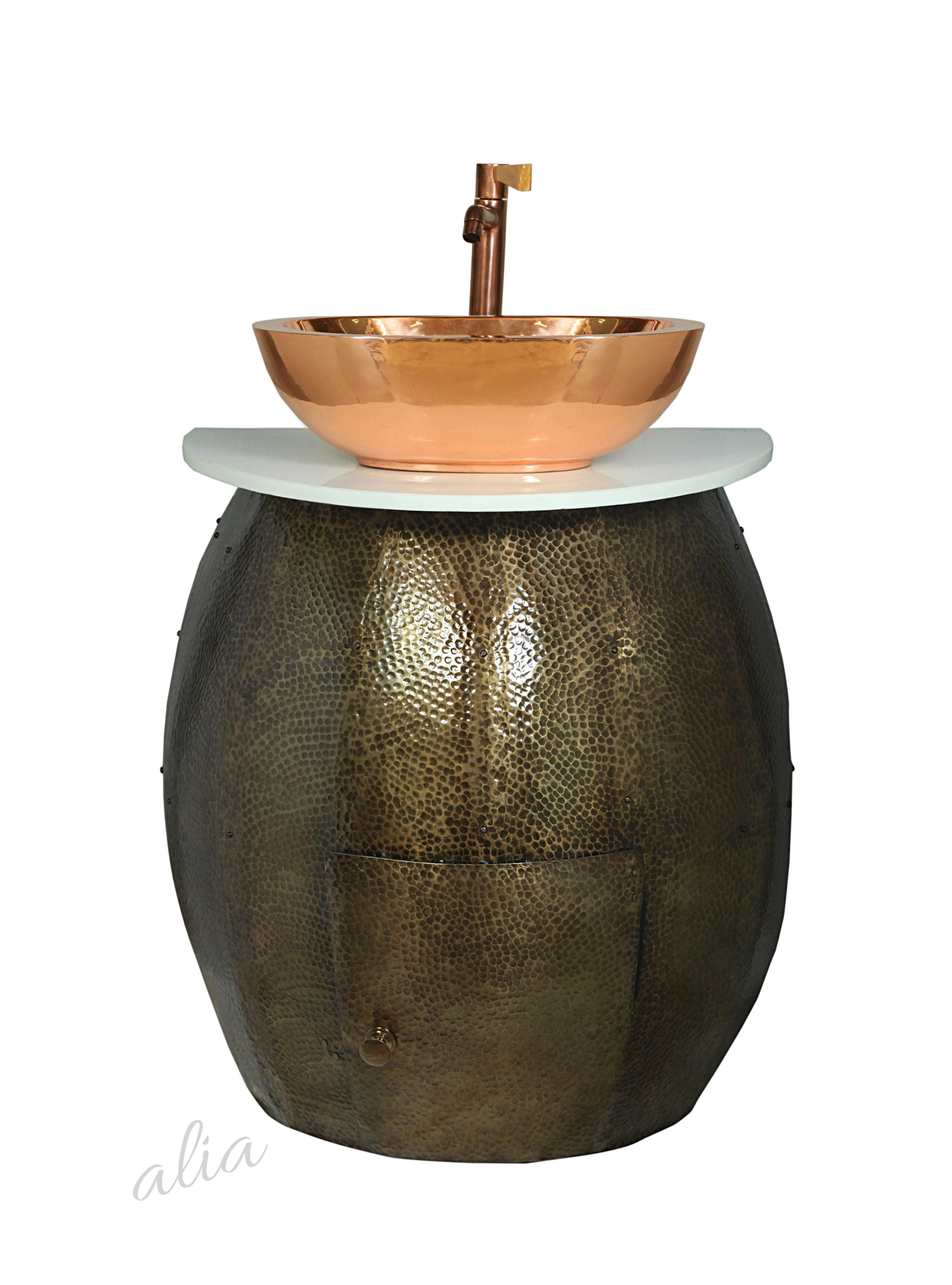 Metal Vanity Set with Copper Sink