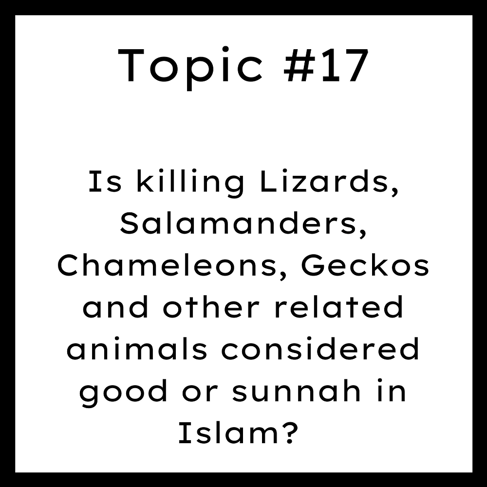 Is killing Lizards, Salamanders, Chameleons, Geckos and other related animals considered good or sunnah in Islam?