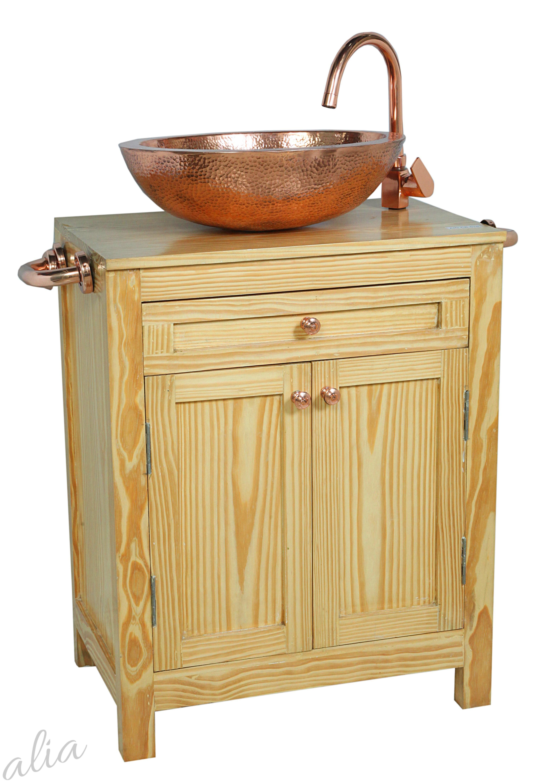 Wooden Vanity Set with Copper Sink