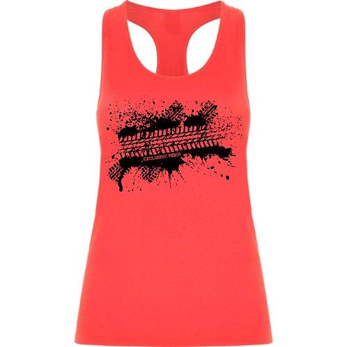 Camiseta de tirantes motera diseño de huella de neumatico color coral fluor