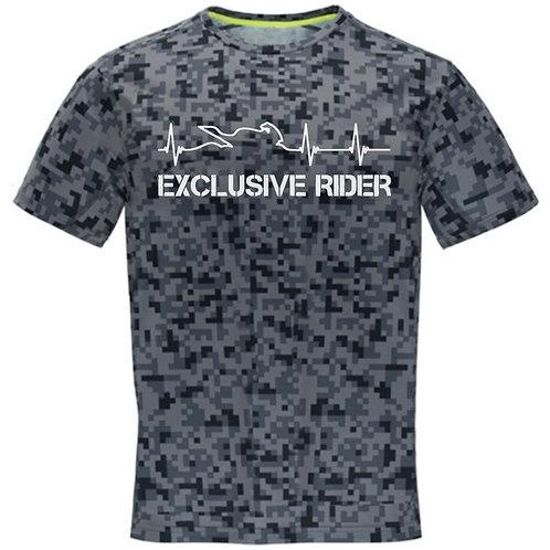 camiseta motera latidos pixelada color negro