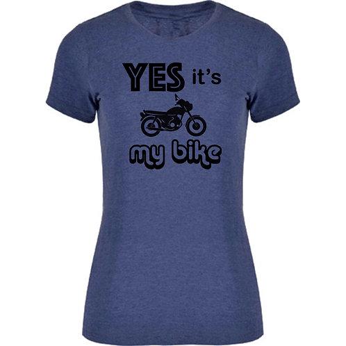 camiseta motera de una scrambler color azul oscuro exclusive rider