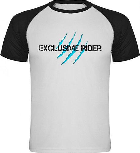 camiseta unisex motero, diseño garras en color azul celeste
