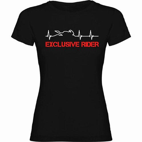 camiseta motera latidos moto cardiograma letras exclusive rider color rojo