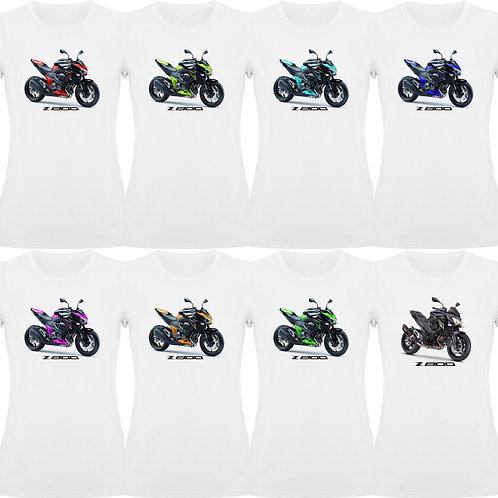 camiseta exclusive rider de chica diseño de una moto kawasaki z800