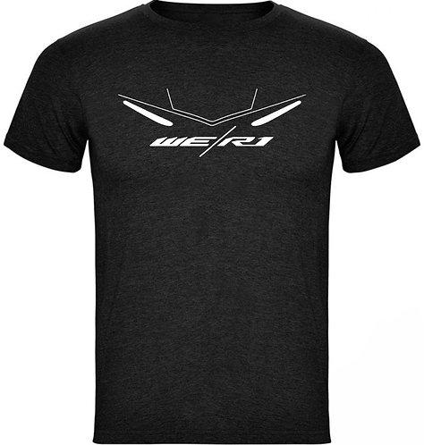 camiseta jaspeada diseño de una yamaha r1 color negro