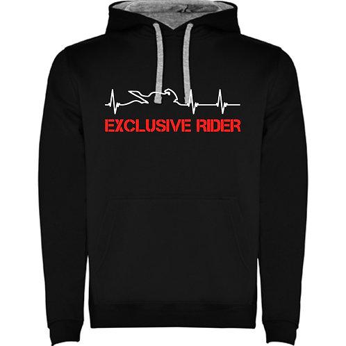 Sudadera latidos de moto con letras exclusive rider en rojo