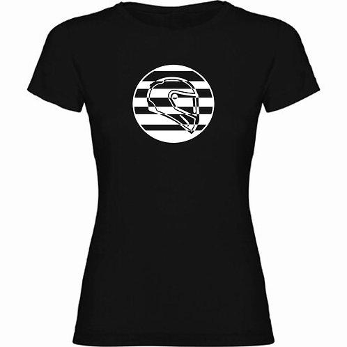 Camiseta negra de chica de un casco deportivo exclusive rider color blanco