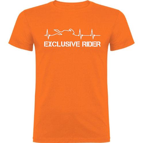 Camiseta motero cardiograma moto, color de camiseta naranja