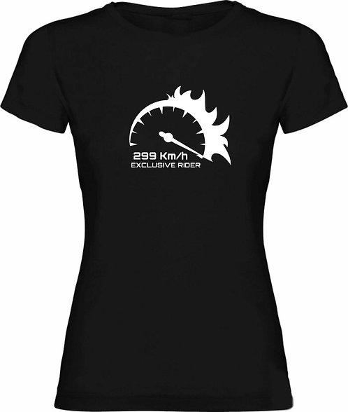 camiseta negra de chica de marcador de moto a 299km/h color blanco