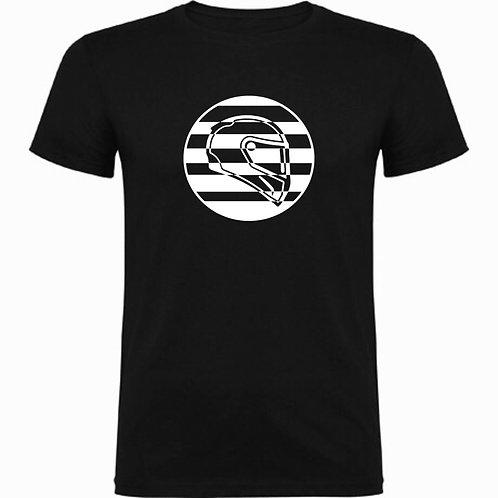 Camiseta negra motera de un casco deportivo exclusive rider color blanco