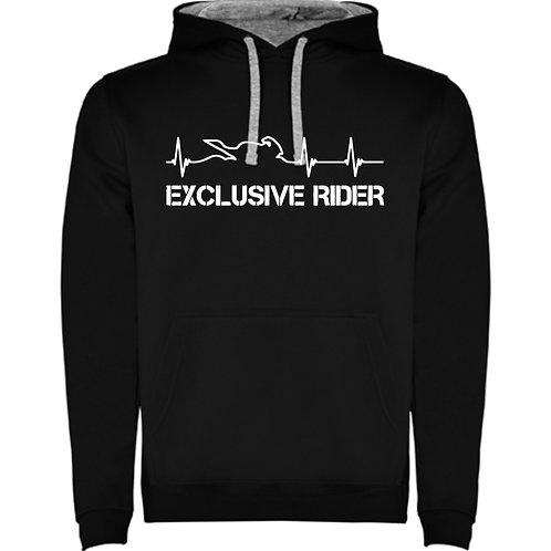 Sudadera negra de latidos moto, exclusive rider color blanco