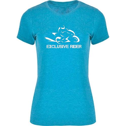 camiseta de chica jaspeada modelo speed color azul turquesa