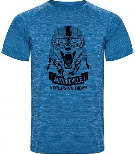 Camiseta rayada de motos, estilo custom exclusive rider color azul