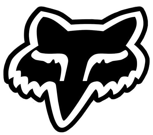 Pegatina motera color negro logotipo fox