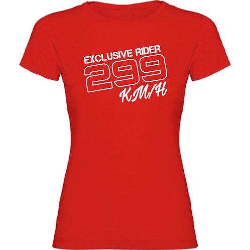 Camiseta roja motera de 299 kilometros por hora