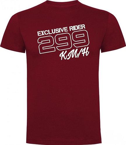 Camiseta color granate de estilo motero diseño 299 kilometros por hora