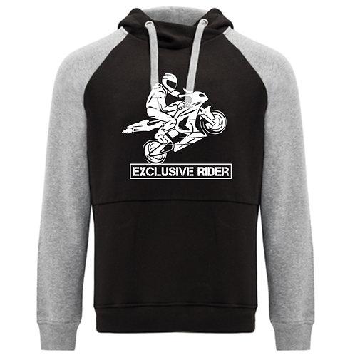 Sudadera Unisex Rider Bicolor Exclusive Rider gris y negro