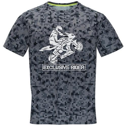 camiseta pixelada moto diseño rider color negro