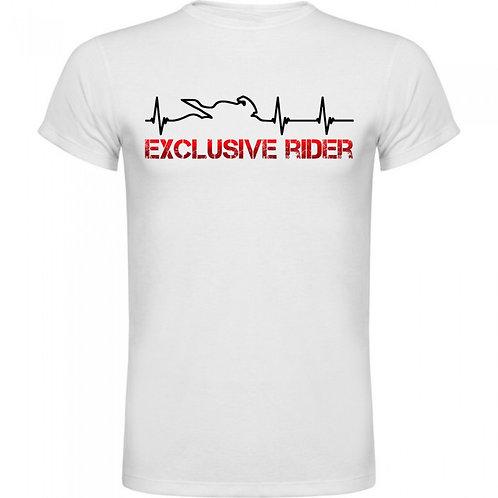 camiseta latidos moto cardiograma letras exclusive rider color rojo