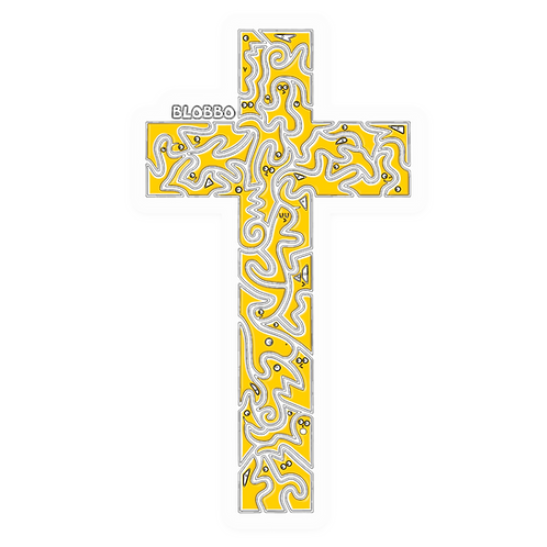 Blobbo Cross Sticker