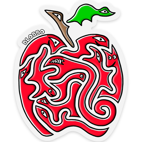 Blobbo Apple Sticker