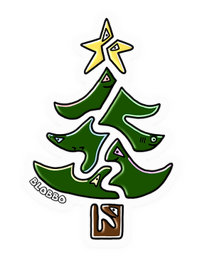 Blobbo Christmas Tree Sticker