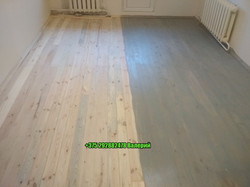 нанесение цвета на деревянный пол