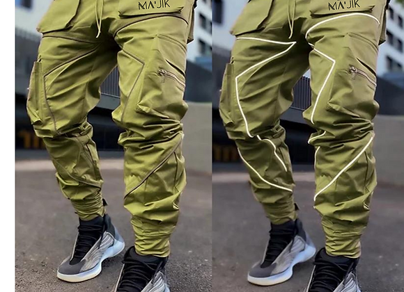 Green Reflective Cargo Pants