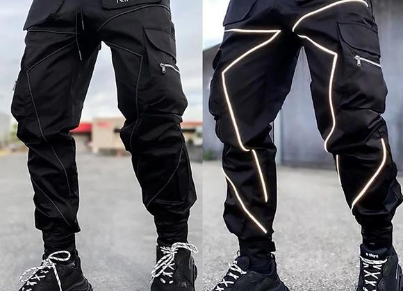 Black Reflective Cargo Pants