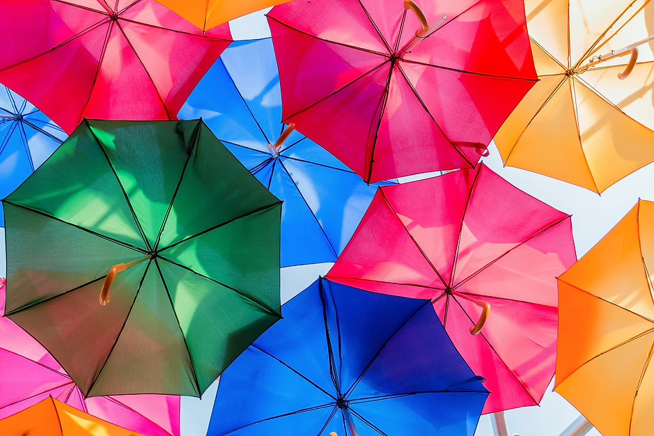 Colourful canopy of open umbrellas