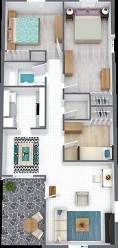 Palm Shore Apartments Three Bedroom One Bathroom Floor Plan
