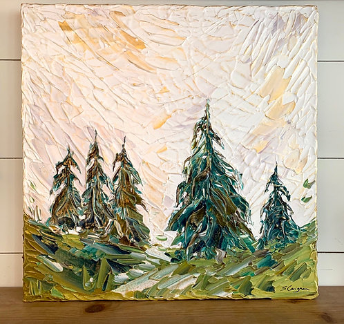 "17 x 17"" Weeping Evergreen Landscape"