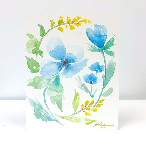 """9x12"""" Watercolor - Blue Florals - No.2"""