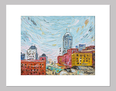 """Indianapolis, Colorful View"" - Print+Mat"
