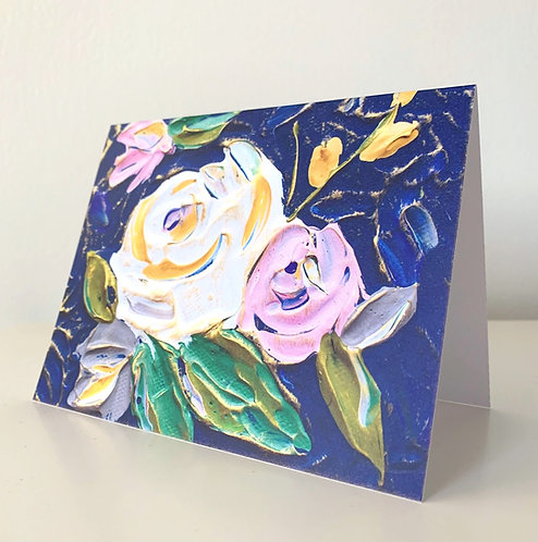 "5.5 x 4"" SPRING FLORALS, NAVY CARDS - Set of 5"