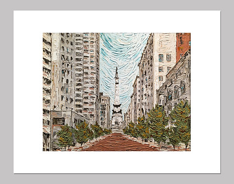 """Indianapolis, Monument Circle"" - Print+Mat"